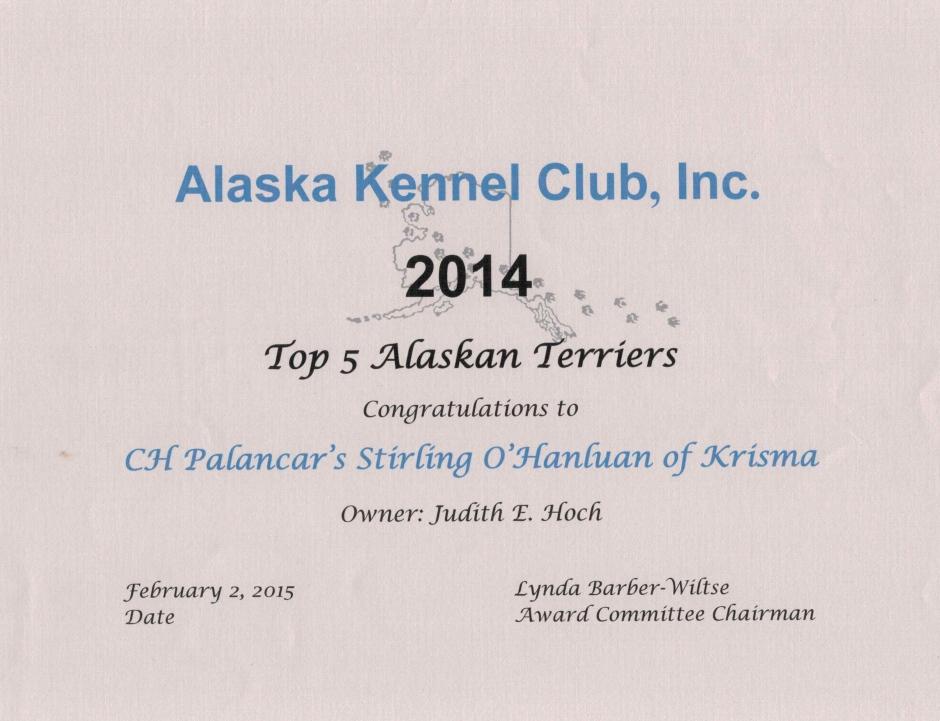 Top 5 Alaskan Terriers 2014